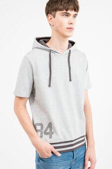 Printed sweatshirt with short sleeves, Grey Marl, hi-res
