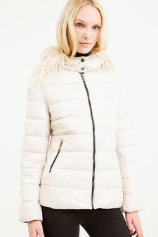 Down jacket with hood and fur, Beige, hi-res