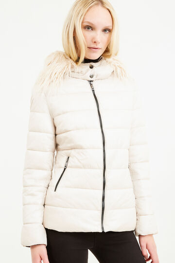 Down jacket with hood and fur, Beige, hi-res