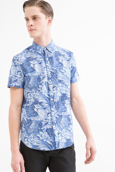 G&H floral shirt in 100% cotton, Blue, hi-res