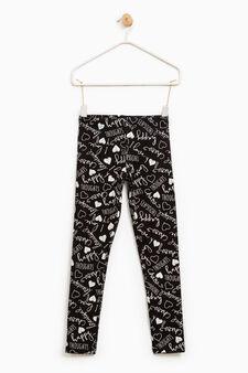 Leggings cotone stretch stampati, Nero, hi-res