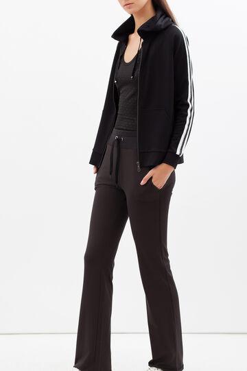 Sports sweatshirt with contrasting stripes, Black, hi-res