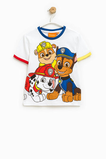 Round neck T-shirt with Paw Patrol print, Optical White, hi-res