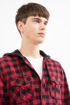 Slim-fit check casual shirt, Black/Red, hi-res