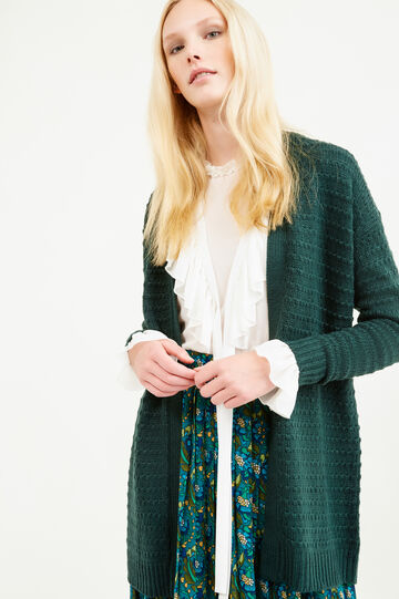 Long chunky knit cardigan, Green, hi-res