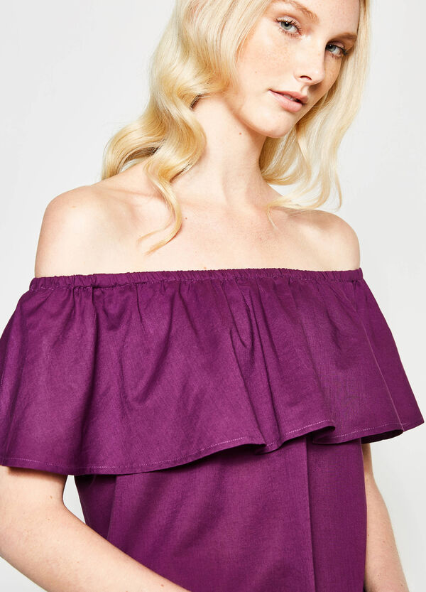 Blouse with boat neck and flounce | OVS