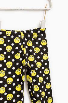 Cotton leggings with Tweetie Pie and polka dot print, Black, hi-res