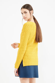 Cotton striped weave pullover, Ochre Yellow, hi-res