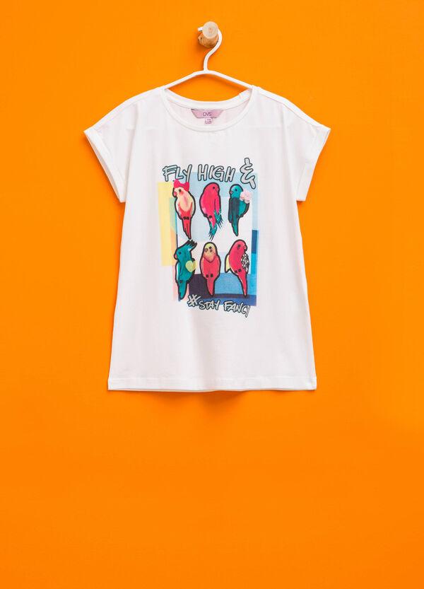 T-shirt con stampa glitterata e fiore | OVS