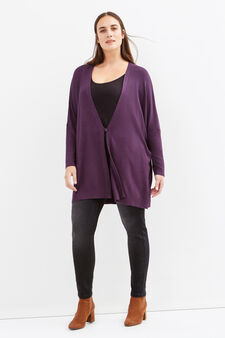 Curvy viscose blend long cardigan, Purple, hi-res