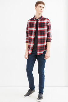 Casual shirt with yoke seam on the back, Black/Red, hi-res