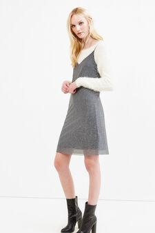 Sleeveless dress with lurex, Grey/Silver, hi-res