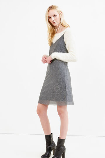 Sleeveless dress with lurex, Grey/Silver, hi-res