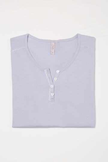 Curvy cotton pyjama top with buttons, Lilac, hi-res