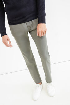 Solid colour stretch chino trousers, Grey, hi-res