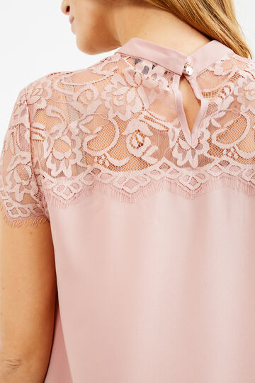Short-sleeved blouse with lace, Powder Pink, hi-res