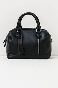 Solid colour handbag with zip, Black, hi-res