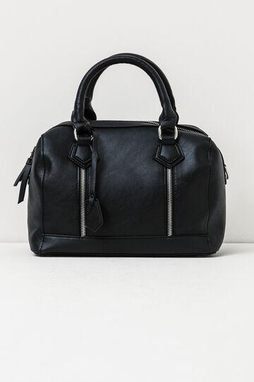 Solid colour handbag with zip, Black, hi-res