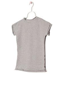 Cotton blend sweatshirt with short sleeves., Grey, hi-res