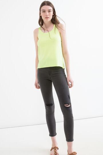 Solid colour cotton blend top, Lime Green, hi-res