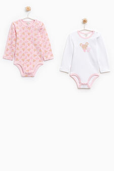 Two-pack teddy bear pattern bodysuits in cotton, White/Pink, hi-res