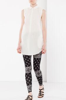 Patterned stretch leggings, Black/White, hi-res