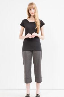 T-shirt puro cotone lavorazione costina, Nero, hi-res