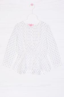 Blusa cotone stretch stampa, Bianco, hi-res
