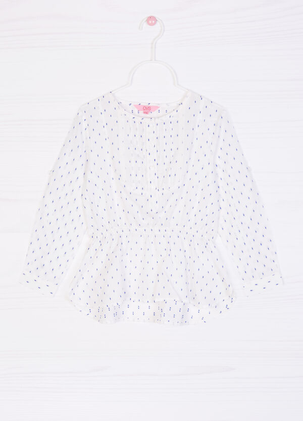 Printed stretch cotton blouse | OVS