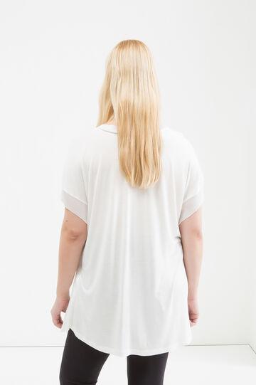 Blusa in misto viscosa Curvy, Bianco panna, hi-res