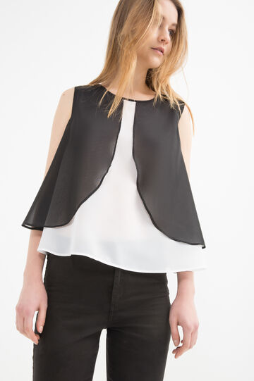Georgette sleeveless blouse, White/Black, hi-res