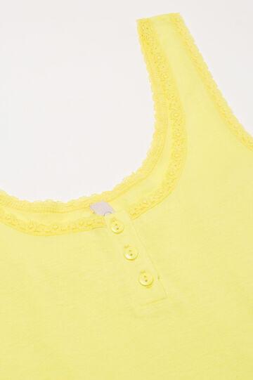 Solid colour cotton pyjama vest top, Yellow, hi-res