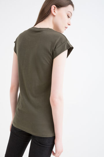 T-shirt cotone stampa lettering, Verde militare, hi-res