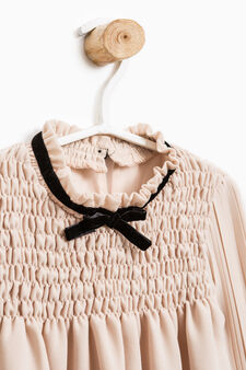 Solid colour shirt with bow, Light Pink, hi-res