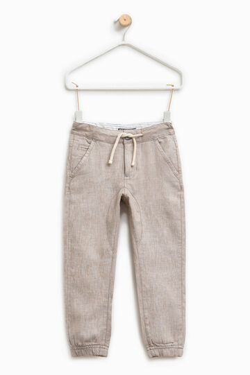 Linen trousers with drawstring, Ecru Brown, hi-res