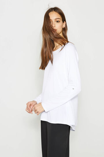 Viscose blend T-shirt with faux layer, White, hi-res