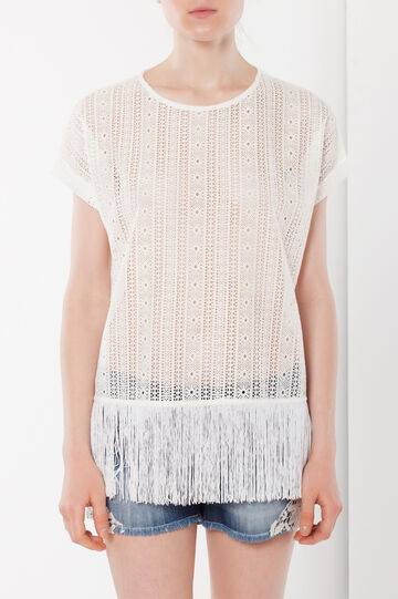 Mesh T-shirt with fringes, Cream White, hi-res
