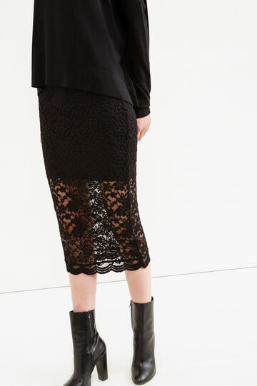 Stretch pencil skirt in lace, Black, hi-res