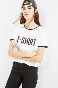 T-shirt with lettering print in cotton blend, White, hi-res