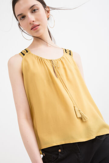 Sleeveless blouse in 100% viscose, Mustard Yellow, hi-res