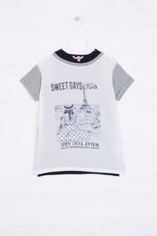 Printed layered effect T-shirt, White/Grey, hi-res