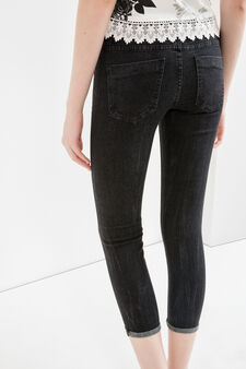 Jeans crop skinny fit stretch con strappi, Nero, hi-res