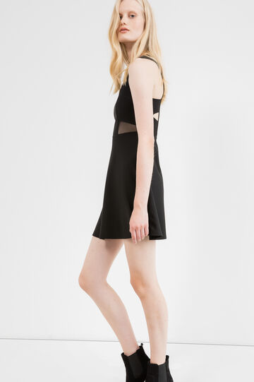 Cotton blend dress with zip on the back, Black, hi-res