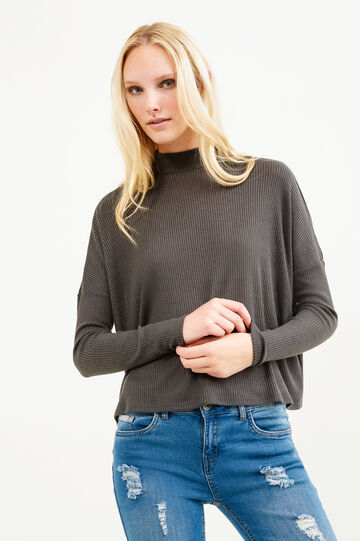 Ribbed short pullover with high neck, Dark Grey Marl, hi-res