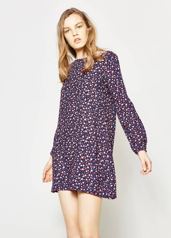 Dress with elasticated cuffs and all-over print | OVS