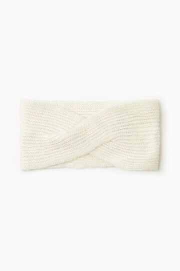 Cable knit neck warmer, Chalk White, hi-res