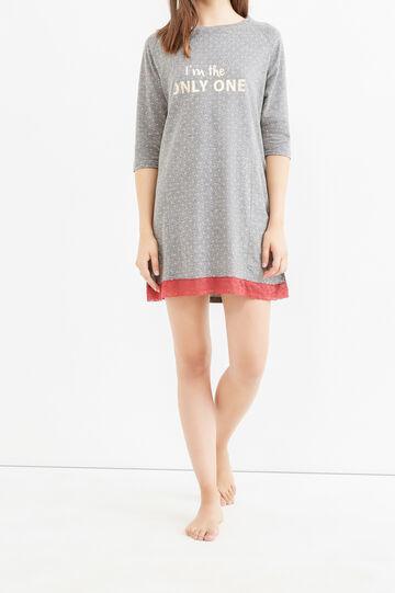 Polka dot and hearts cotton nightshirt, Grey Marl, hi-res