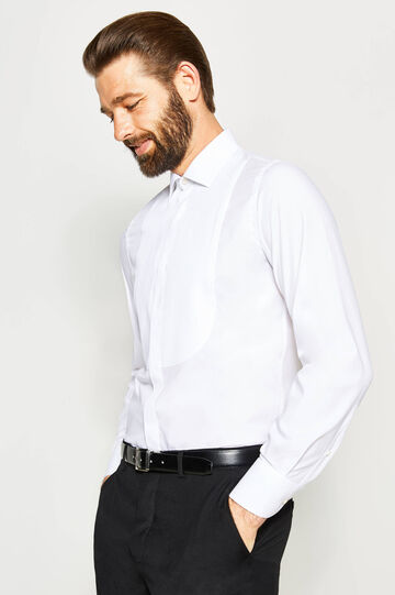 Camisa formal slim fit plisada, Blanco, hi-res