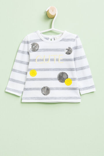 Striped T-shirt with print, glitter and sequins, White/Grey, hi-res