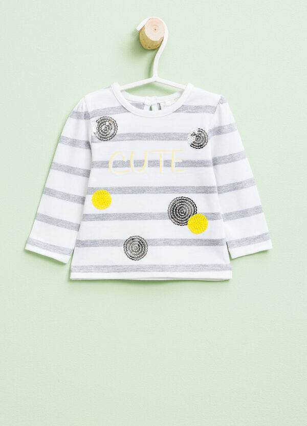 Striped T-shirt with print, glitter and sequins | OVS